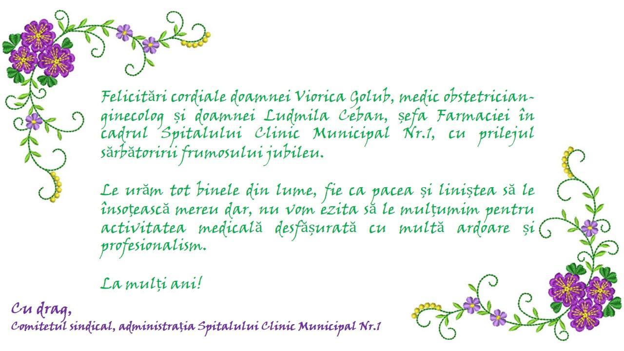 La mulți ani doamnelor doctori, Viorica Golub și Ludmila Ceban